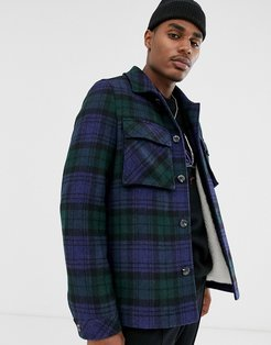 teddy lined wool mix jacket in navy check