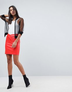 textured leather look mini skirt
