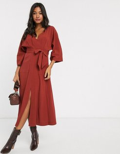 textured midi dress with pockets in rust