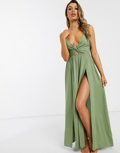 tie back beach maxi dress with twist front detail in khaki-Green