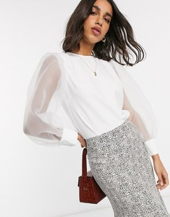 top with organza sleeve-White