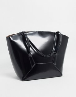 tote bag with curved handles in shiny black