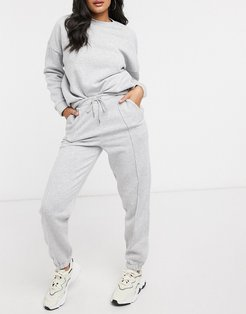 tracksuit oversized sweat / jogger with be happy slogan in gray marl