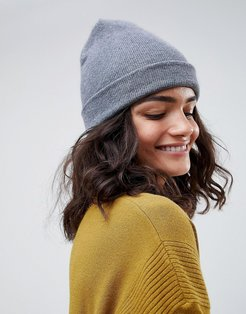 turn up beanie in recycled polyester-Gray