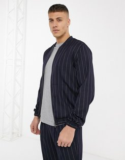 two-piece bomber jacket with pinstripe in navy