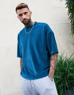 two-piece oversized t-shirt with half sleeve in dark green ribbed velour