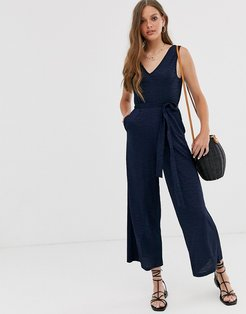 v front v back textured sleeveless jumpsuit with tie waist-Navy