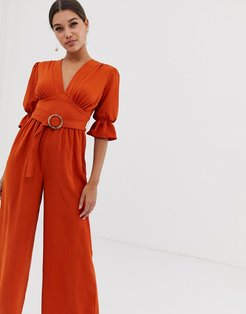 v neck jumpsuit with puff sleeve and oval belt-Brown