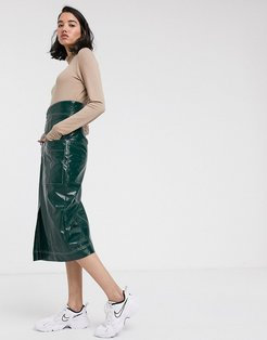 vinyl pencil skirt with contrast stitch detail-Green