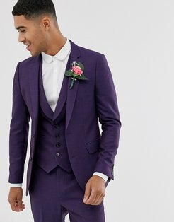 wedding skinny suit jacket in berry twill-Red