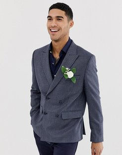 wedding slim double breasted blazer in wool mix with blue houndstooth check