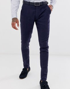 wedding super skinny suit pants in blue micro check