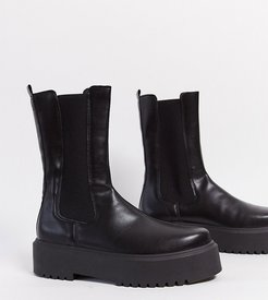 Wide Fit Alana chunky chelsea boots in black