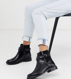 Wide Fit Brooklyn flat ankle boots in black croc