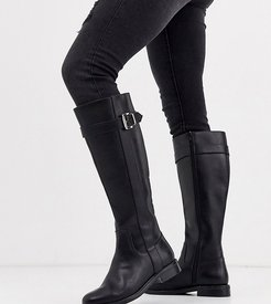 Wide Fit Constance flat riding boots in black