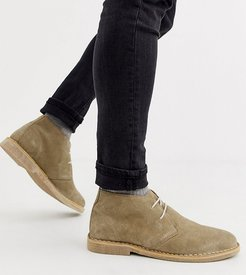 Wide Fit desert chukka boots in stone suede