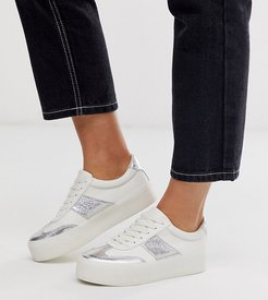 Wide Fit Detect flatform sneakers in white and silver