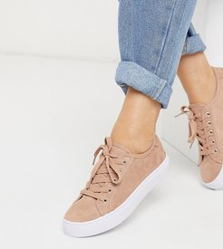 Wide Fit Dizzy lace up sneakers in warm beige