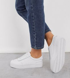 Wide Fit Dynamic leather chunky sneakers in white