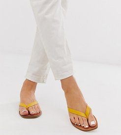 Wide Fit Florence leather flip flop sandals in yellow