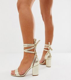 Wide Fit Howling tie leg block heeled sandals-Gold
