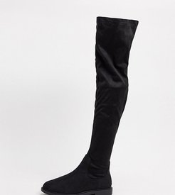 Wide Fit Kennedy flat knee boots in black