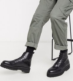 Wide Fit lace up boot in black faux leather with raised chunky sole