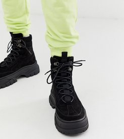 Wide Fit lace up boot in black faux nubuck with chunky sole