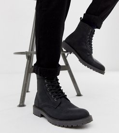 Wide Fit lace up boots in black leather with chunky sole