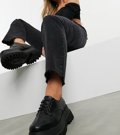 Wide Fit Marcy chunky lace up flat shoes in black lizard
