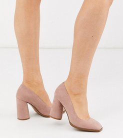 Wide Fit Pinky square toe block heeled pumps in beige