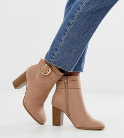 Wide Fit Relay heeled ankle boots in taupe-Beige