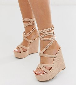 Wide Fit Will Power tie leg rope wedges in rose gold-Beige