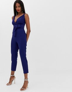 wrap front jumpsuit with peg leg and self belt-Navy