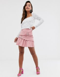 wrap mini skater skirt with crystal buckles-Pink
