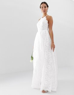 lace halter neck maxi wedding dress-White
