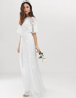 Mia embroidered flutter sleeve wedding dress-White