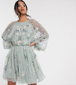 Petite floral beaded mesh dress with balloon sleeve-Gray