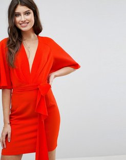 ASOS Fluted Sleeve Mini Dress with Belt-Red