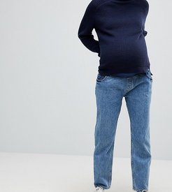 RECYCLED FLORENCE Authentic Straight Leg Jeans in Mindy Vintage Blue Wash with Under the Bump Waistband