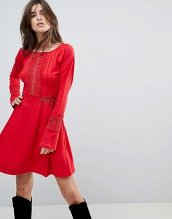 ASOS Mini skater sundress with lace panels and frill cuffs-Red