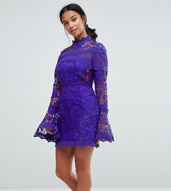 Lace Long Sleeve Mini Dress With Fluted Sleeves-Navy