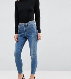 RIDLEY High Waist Skinny Jeans With Seamed Split Front in Noelle Light Wash-Blue