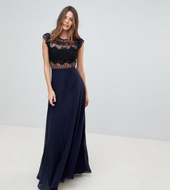 Lace Maxi Dress with Lace Frill Sleeve-Multi