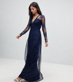 Lace Maxi Dress with Long Sleeves-Navy