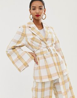 belted suit jacket in check print-Multi