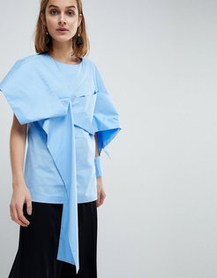 Fold Over Detail Top-Blue