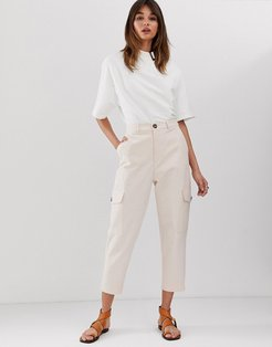 high waisted pocket pants in speckled twill-Cream