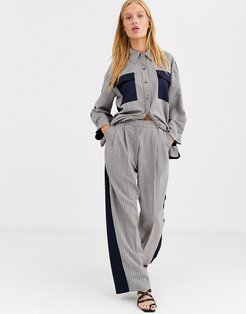 mixed check two-piece pants-Multi