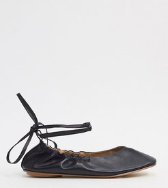 Exclusive Fliss ballerina with ankle ties in black soft leather